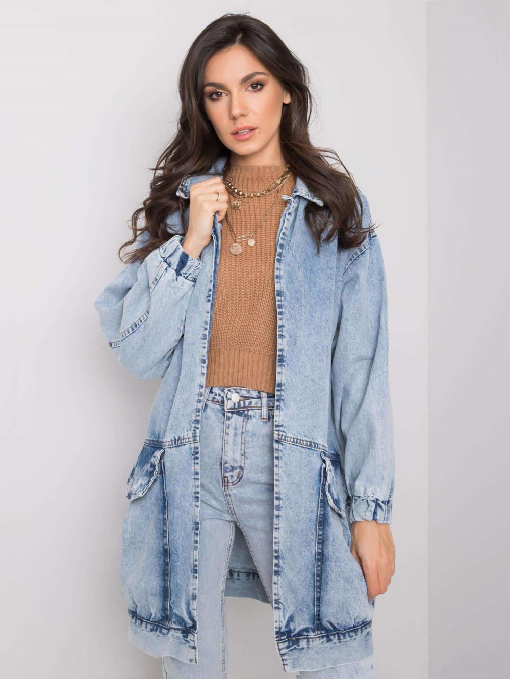 Jasnoniebieski marmurkowa długa kurtka jeansowa z kieszeniami Sallon 1