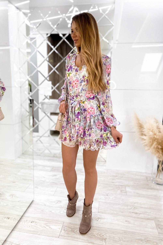 Kolorowa kwiatowa sukienka szyfonowa rozkloszowana Virgo 3