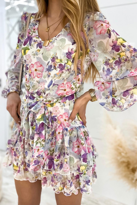 Kolorowa kwiatowa sukienka szyfonowa rozkloszowana Virgo 1