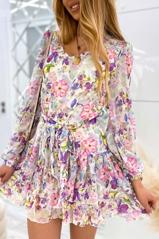 Kolorowa kwiatowa sukienka szyfonowa rozkloszowana Virgo 5
