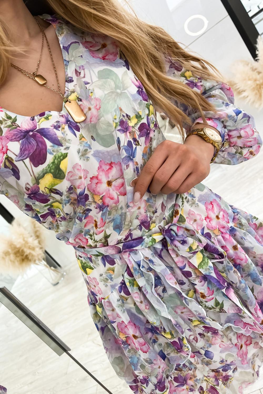 Kolorowa kwiatowa sukienka szyfonowa rozkloszowana Virgo 6