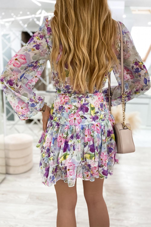 Kolorowa kwiatowa sukienka szyfonowa rozkloszowana Virgo 7