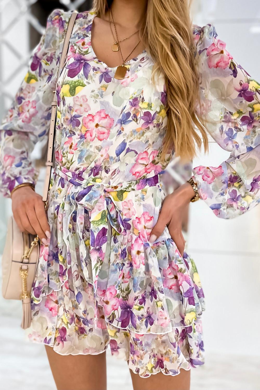 Kolorowa kwiatowa sukienka szyfonowa rozkloszowana Virgo 4