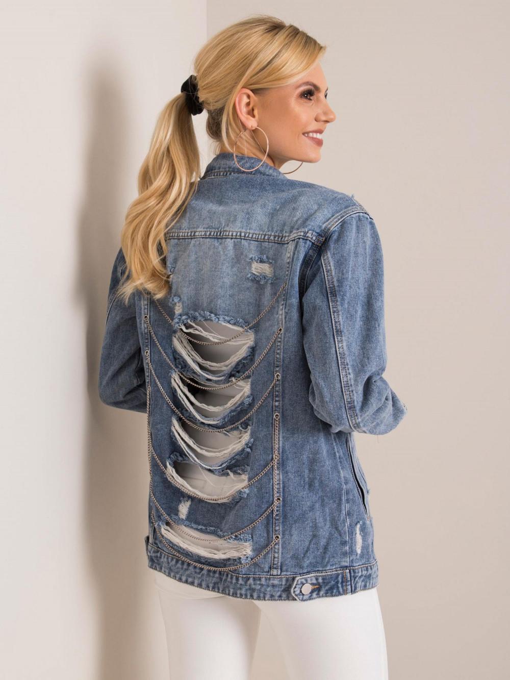 Niebieska kurtka jeansowa z łańcuchami i przetarciami Grunge 1