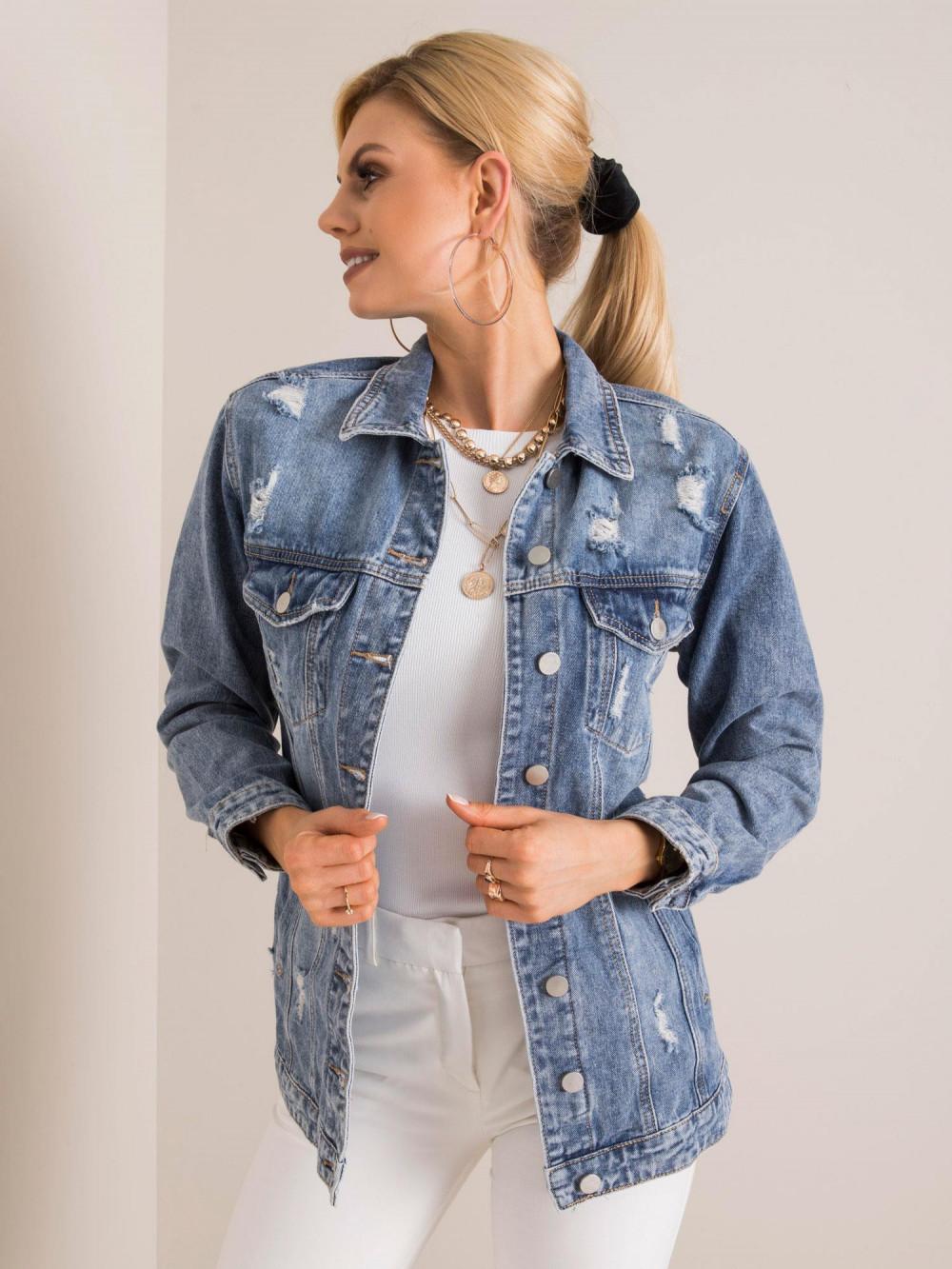 Niebieska kurtka jeansowa z łańcuchami i przetarciami Grunge 3