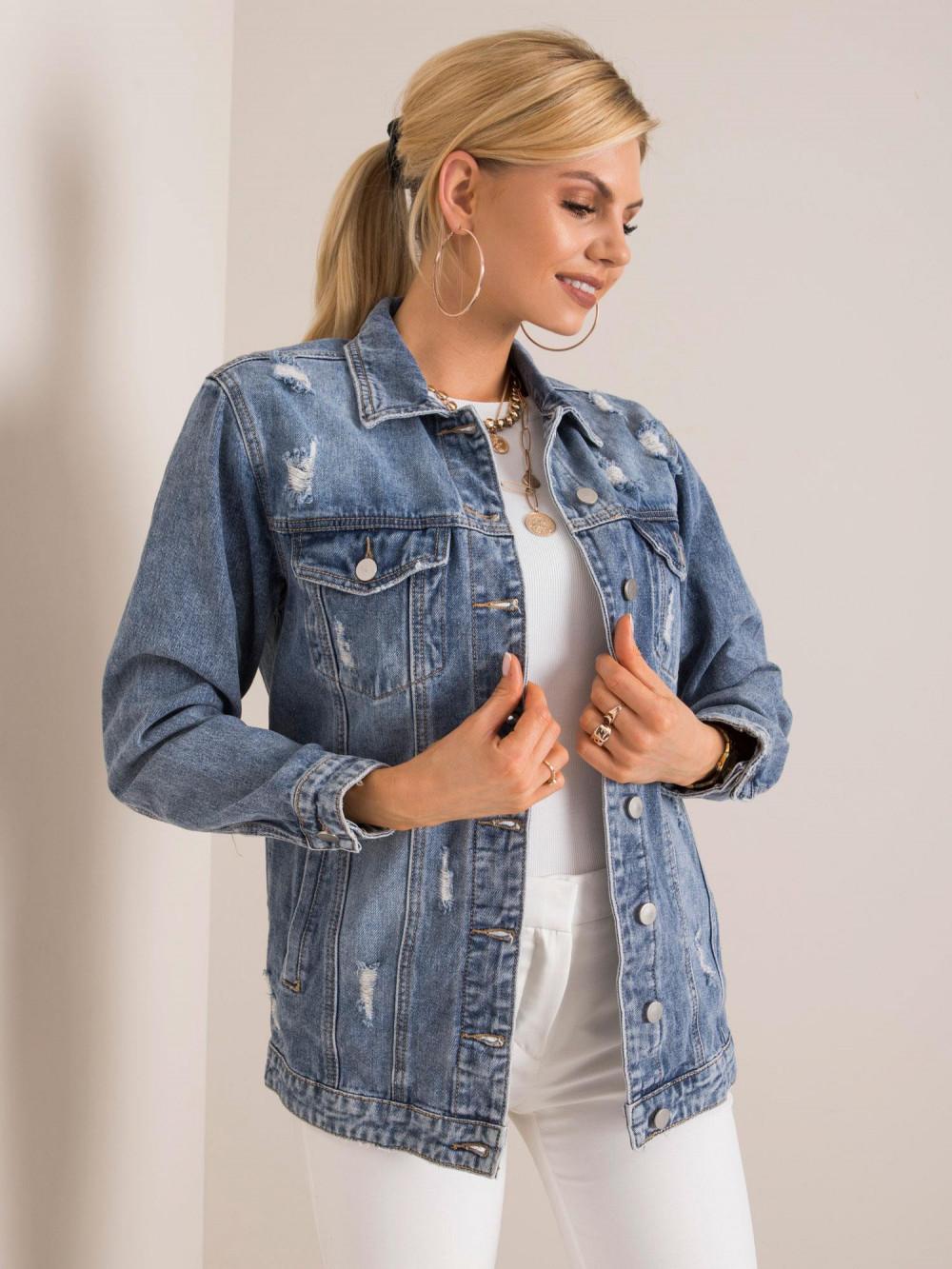 Niebieska kurtka jeansowa z łańcuchami i przetarciami Grunge 2
