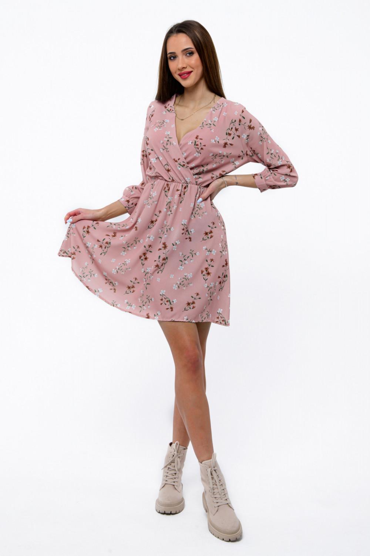 Różowa sukienka kwiatowa V-Neck Amalia 2