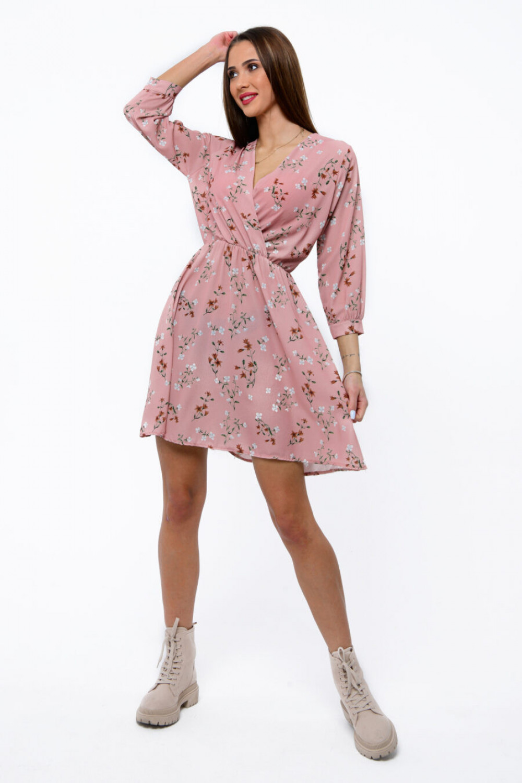Różowa sukienka kwiatowa V-Neck Amalia 1