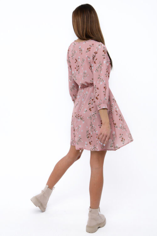 Różowa sukienka kwiatowa V-Neck Amalia 3