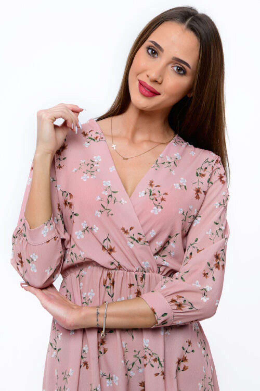 Różowa sukienka kwiatowa V-Neck Amalia 4