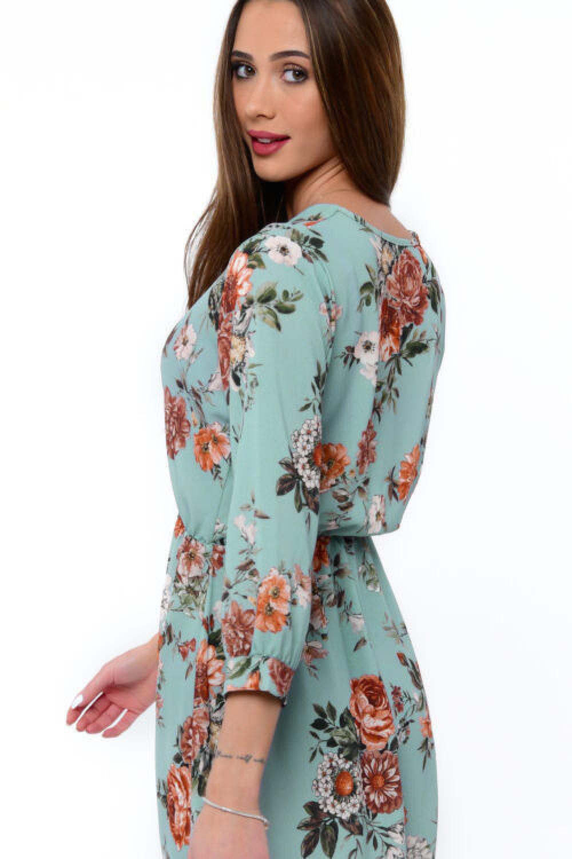 Zielona sukienka kwiatowa V-Neck Amalia 3