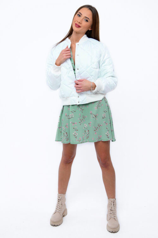 Miętowa sukienka kwiatowa V-Neck Amalia 3