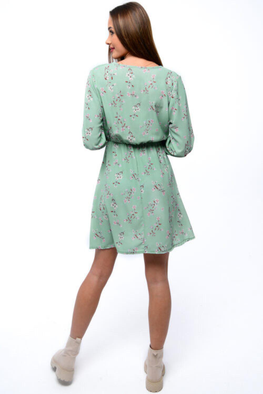 Miętowa sukienka kwiatowa V-Neck Amalia 4
