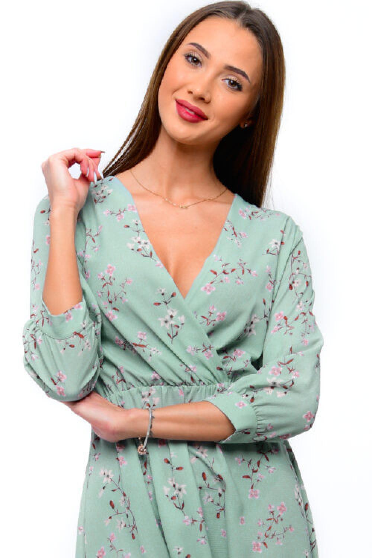 Miętowa sukienka kwiatowa V-Neck Amalia 2