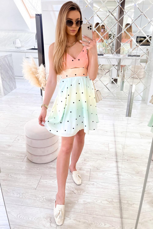 Pomarańczowo-zielona sukienka pastelowa na ramiączkach Sofia 2