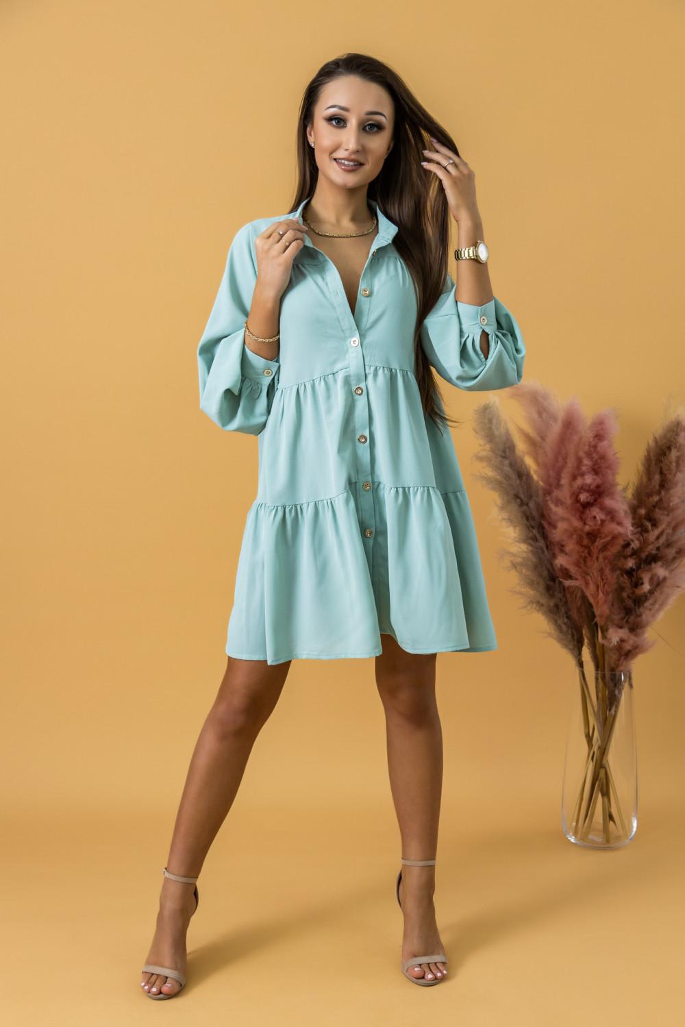 Miętowa sukienka koszulowa oversize z falbankami Antonella 1