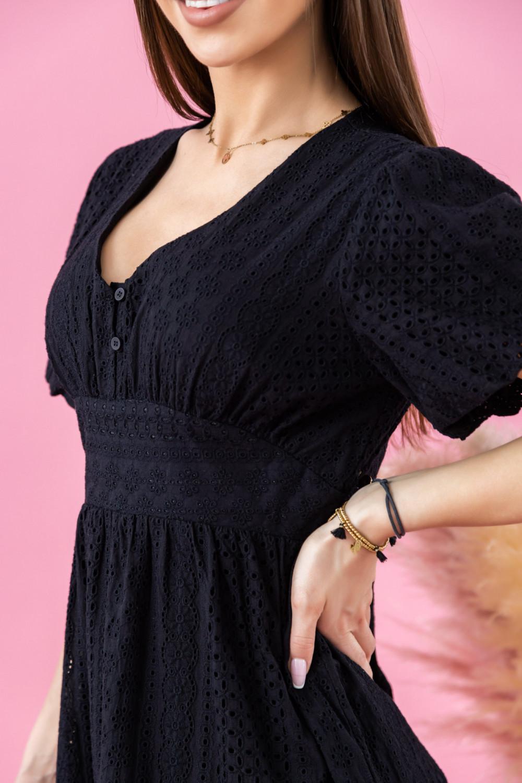 Czarna ażurowa sukienka boho midi Isabella 2