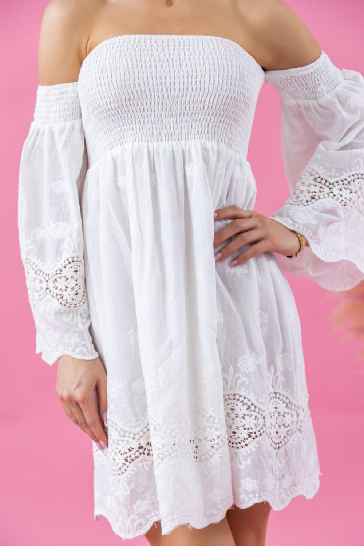 Biała sukienka hiszpanka z koronką Luciana 3