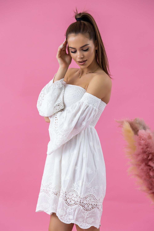 Biała sukienka hiszpanka z koronką Luciana 2