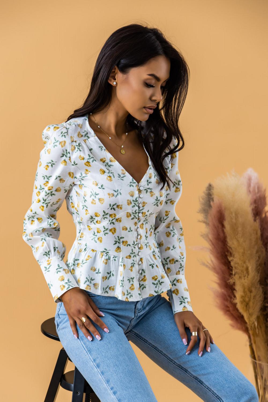 Biało-żółta gorsetowa bluzka kwiatowa Karines 2