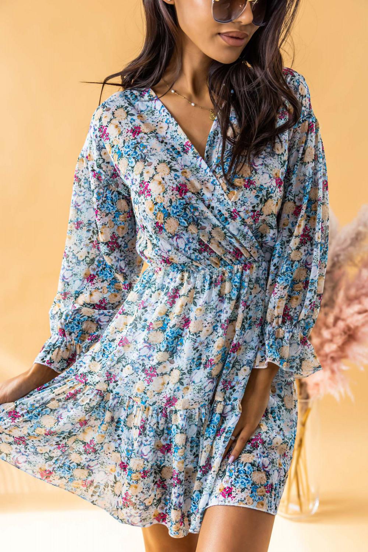 Niebieska sukienka kwiatowa rozkloszowana V-Neck Emilia 2
