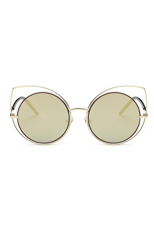 Złoto-zielone lustrzane okulary kocie oko Evie 1