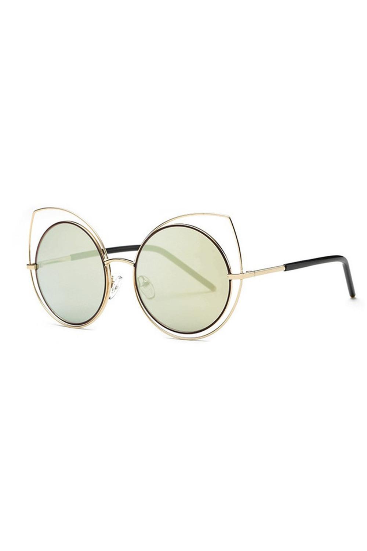 Złoto-zielone lustrzane okulary kocie oko Evie 2