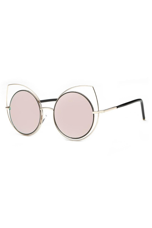 Różowe lustrzane okulary kocie oko Evie 2