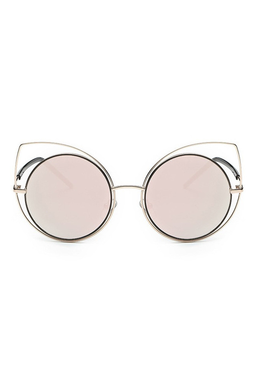 Różowe lustrzane okulary kocie oko Evie 1