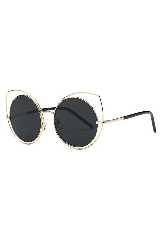 Czarne lustrzane okulary kocie oko Evie 2