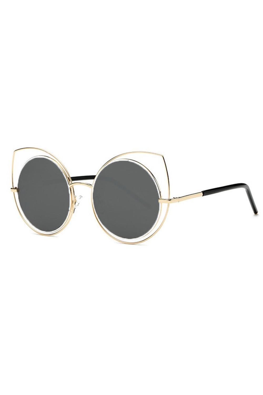 Grafitowe lustrzane okulary kocie oko Evie 2