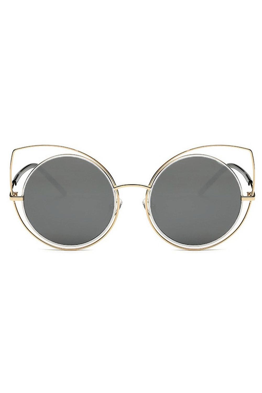 Grafitowe lustrzane okulary kocie oko Evie 1