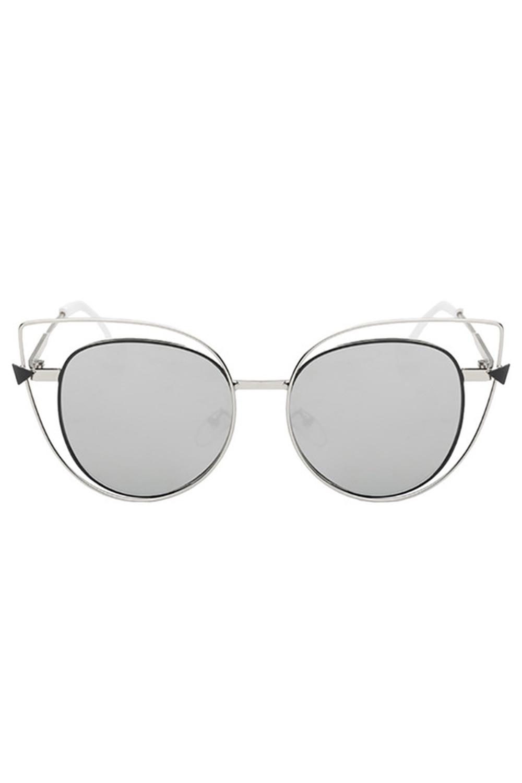 Szare okulary przeciwsłoneczne lustrzane kocie oko Aurora 1