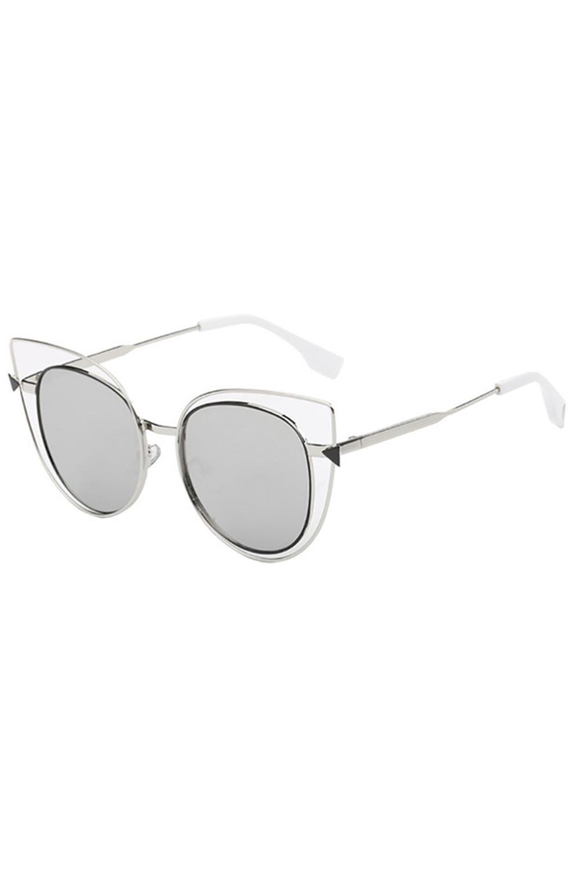 Szare okulary przeciwsłoneczne lustrzane kocie oko Aurora 2