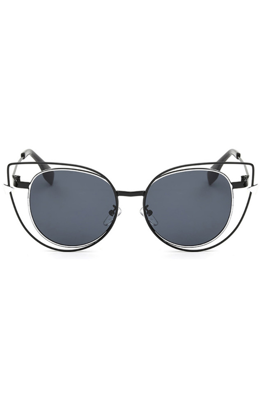 Czarne okulary przeciwsłoneczne lustrzane kocie oko Aurora 1