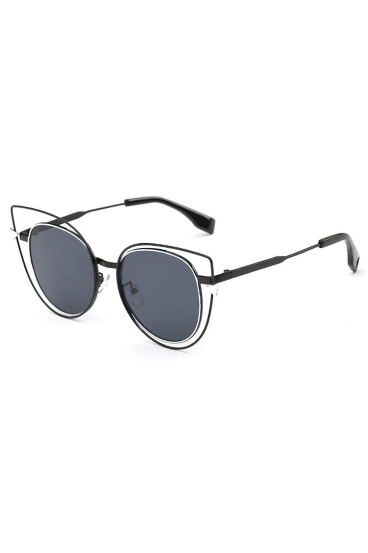 Czarne okulary przeciwsłoneczne lustrzane kocie oko Aurora 2