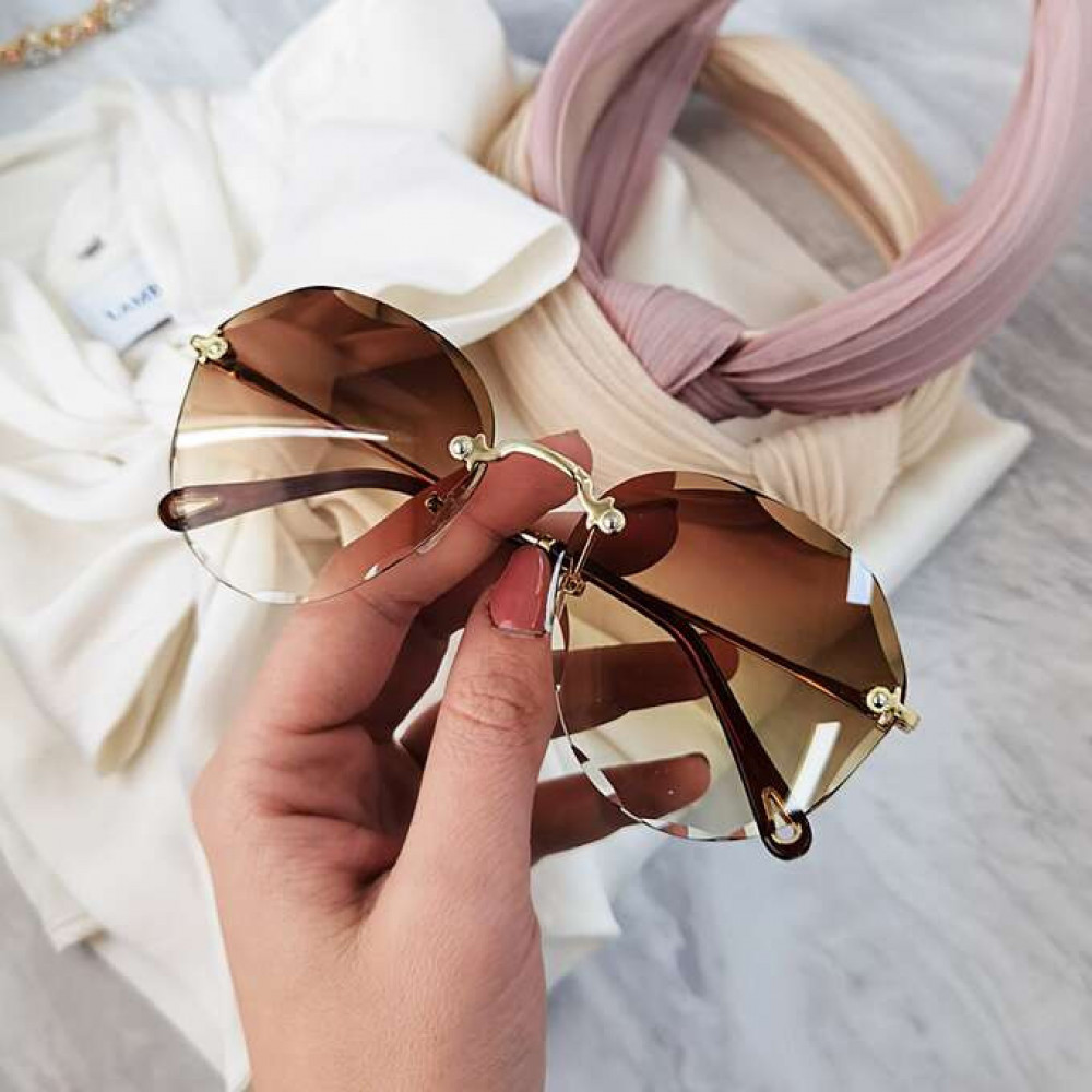 Brązowe okulary przeciwsłoneczne kryształki bez oprawek Shine 2