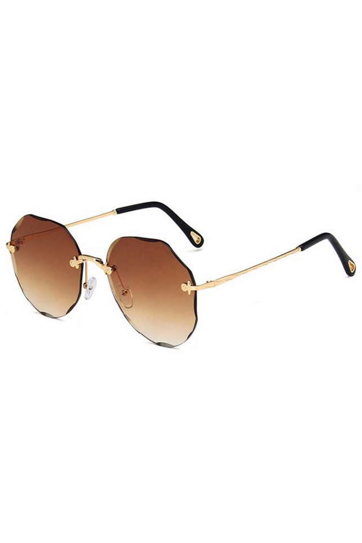 Brązowe okulary przeciwsłoneczne kryształki bez oprawek Shine 3