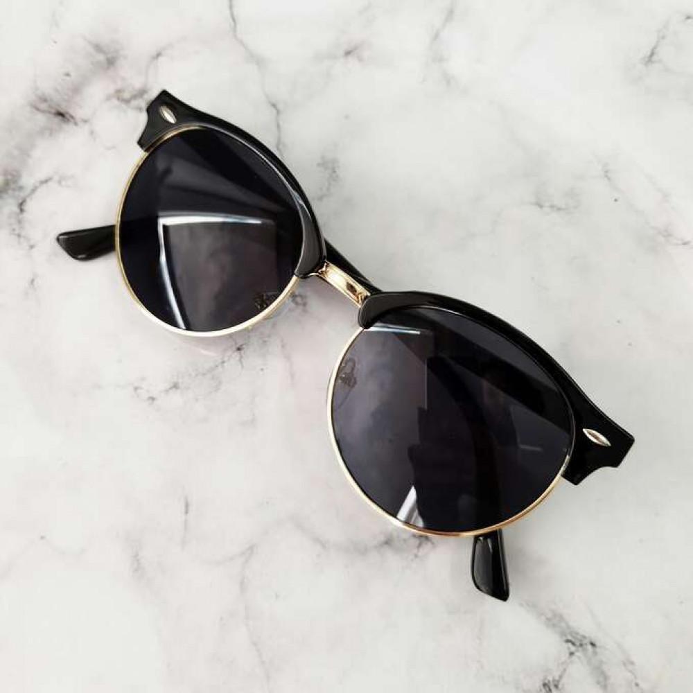 Czarne okulary przeciwsłoneczne clubmaster Helena 2
