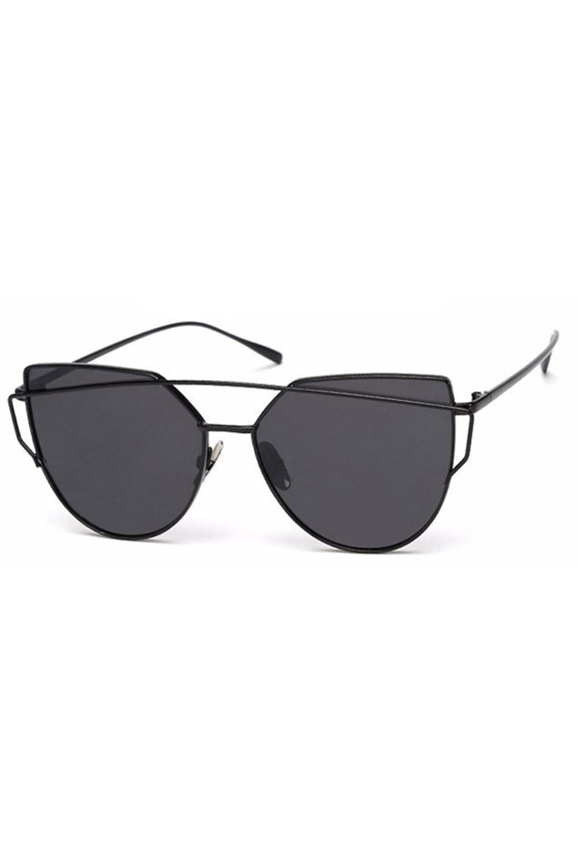 Czarne lustrzane okulary przeciwsłoneczne nowoczesne aviatorki Selena 1