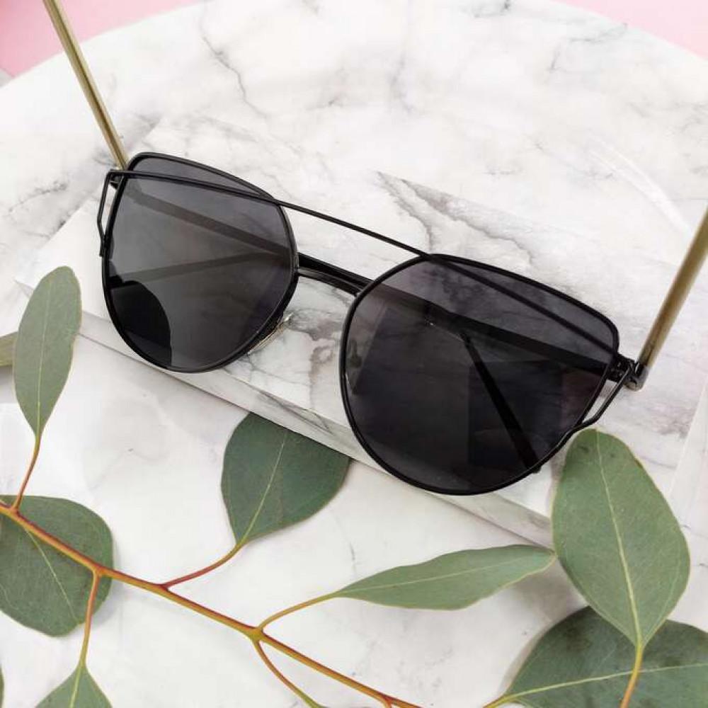Czarne lustrzane okulary przeciwsłoneczne nowoczesne aviatorki Selena 2