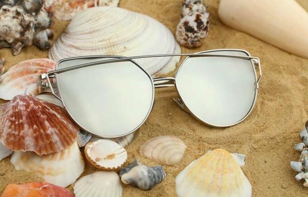 Srebrne lustrzane okulary przeciwsłoneczne nowoczesne aviatorki Selena 5