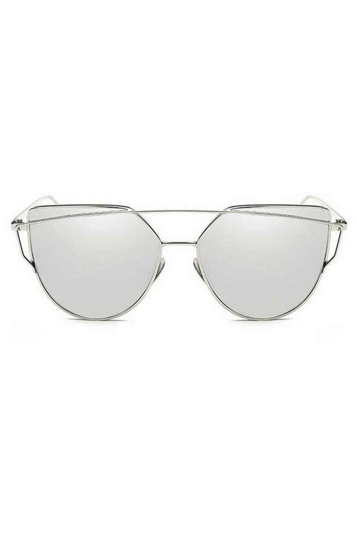 Srebrne lustrzane okulary przeciwsłoneczne nowoczesne aviatorki Selena 1