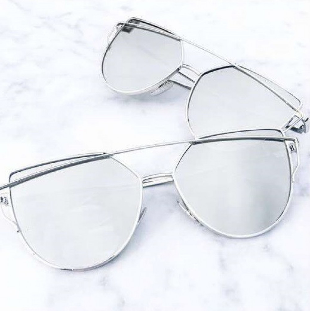 Srebrne lustrzane okulary przeciwsłoneczne nowoczesne aviatorki Selena 3