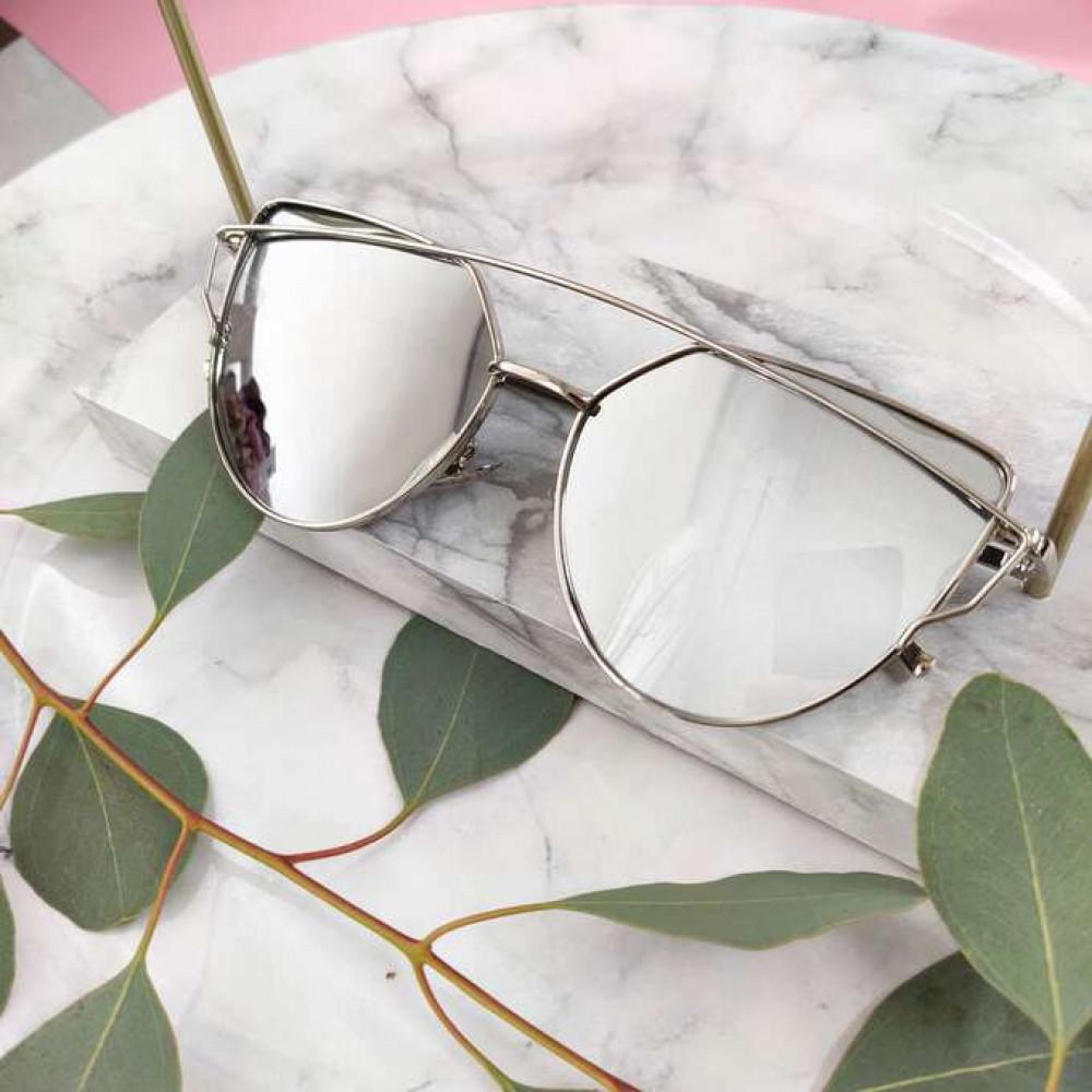 Srebrne lustrzane okulary przeciwsłoneczne nowoczesne aviatorki Selena 2