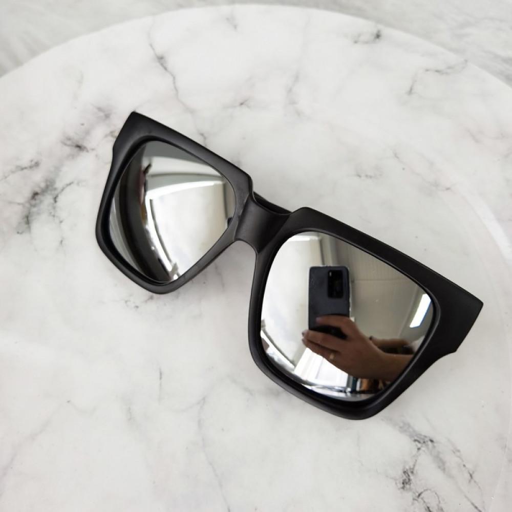 Czarne duże lustrzane okulary przeciwsłoneczne ombre z matową oprawką Sally 1