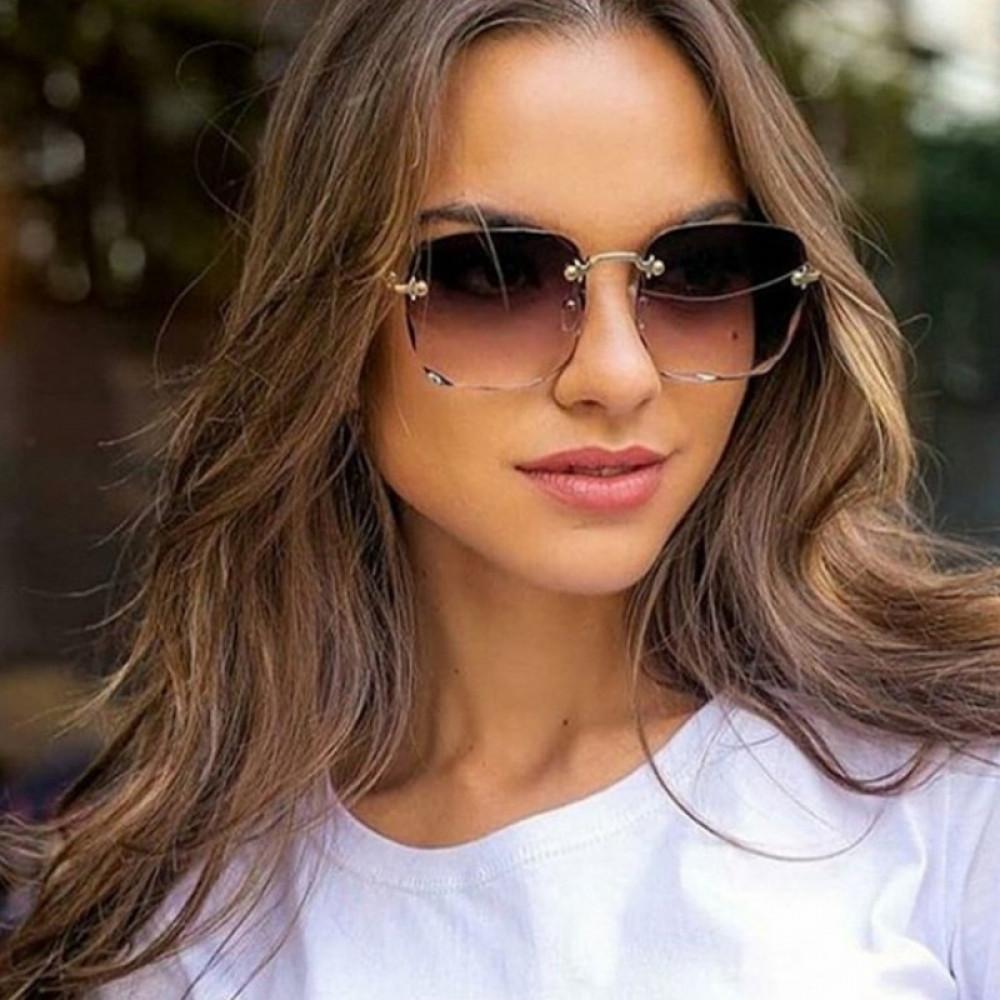 Brązowe okulary przeciwsłoneczne z kryształkami bez oprawek prostokątne Gaily 2