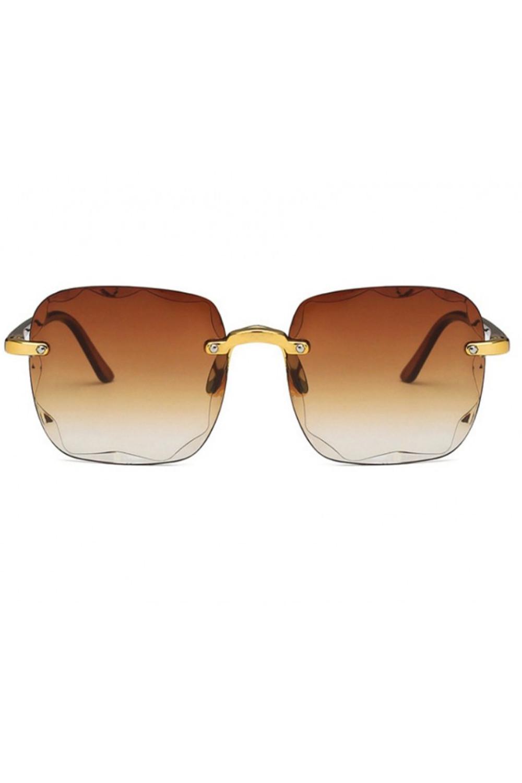 Brązowe okulary przeciwsłoneczne z kryształkami bez oprawek prostokątne Gaily 1