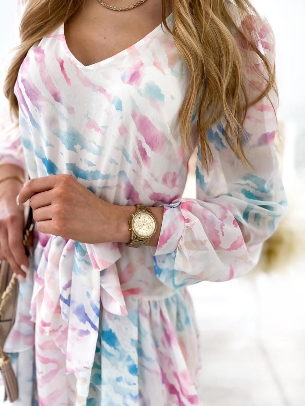 Różowo-niebieska pastelowa zeberkowa sukienka szyfonowa rozkloszowana Virgo 5