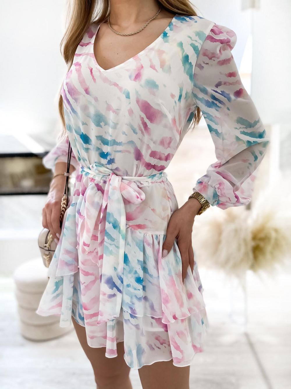 Różowo-niebieska pastelowa zeberkowa sukienka szyfonowa rozkloszowana Virgo 4